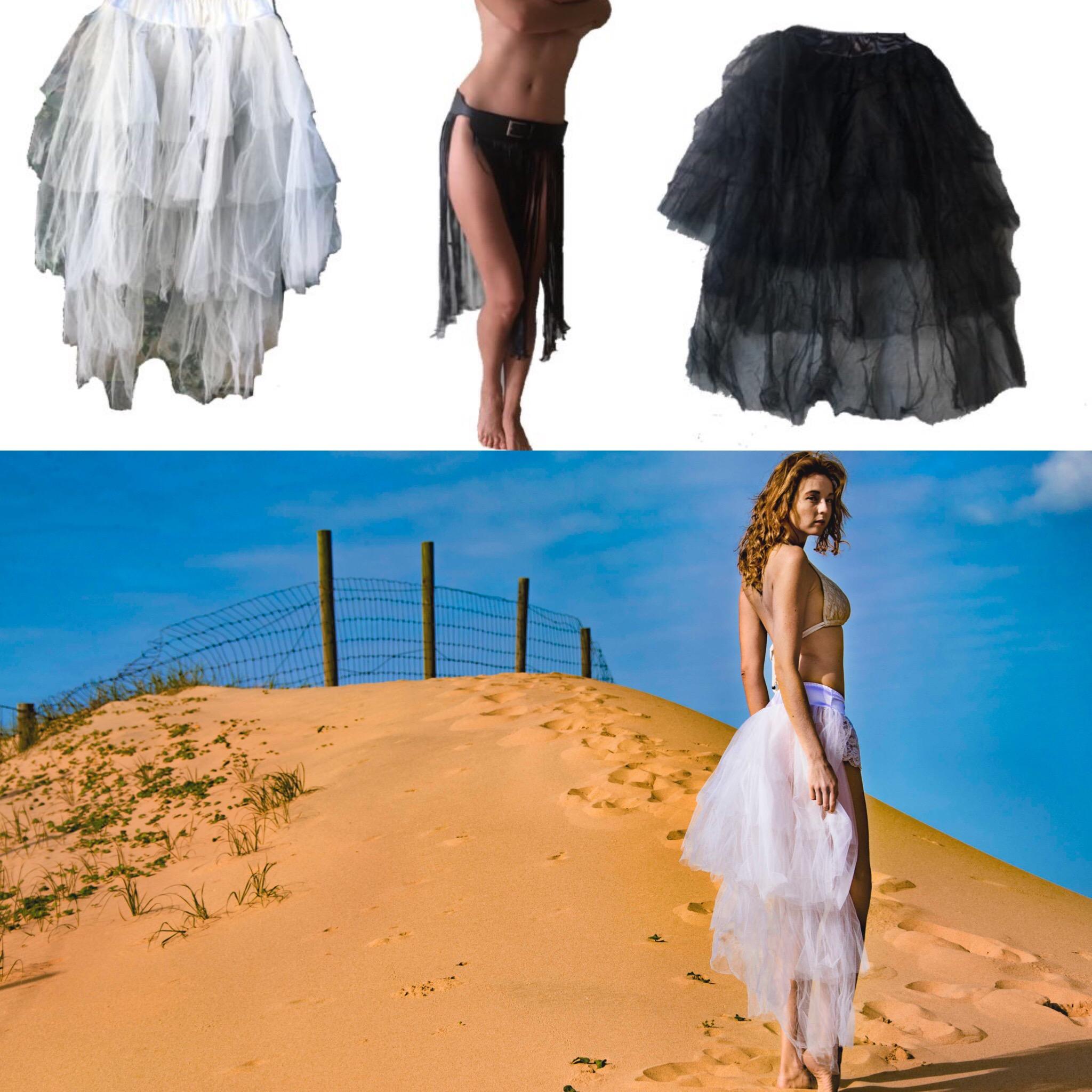 """White """"tutu"""" skirt - one side short, one long"""